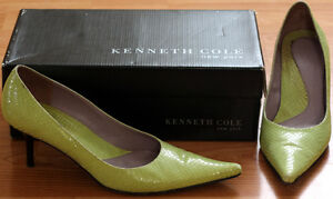 Leather Kenneth Cole Lime Green Snake Print Stilettos, 7.5