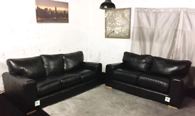 √√ Real leather Black 3+2 seater sofas