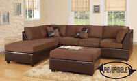 699$--Sectional 3 Pcs. – NEW IN THE BOX – OTTOMAN INCLUDED*choco