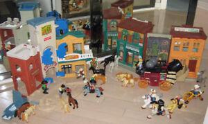 Village Western (bâtiments et figurines)