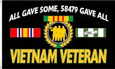 Vietnam Veteran 58479 Gave All Flag Banner - Veteran Flag Banner
