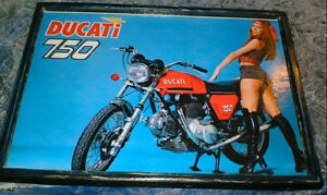 vintage 750 Ducatti motorcycle ad- mounted, ready to display