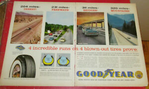 1958 GOODYEAR TIRES LARGE AD WITH CHRYSLER / OLD CLASSIC CARS