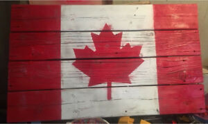 Wooden Canadian Flags
