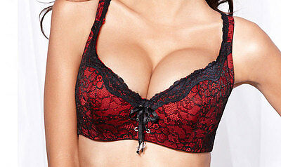 Frederick S Of Hollywood Lace Corset Bra Red Black 32 Dd New  39