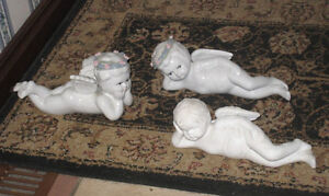 3 Ceramic Statues/figurines of Angels