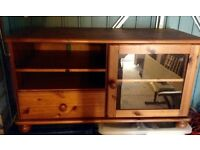 Solid pine TV Media Table with Cabinet Unit