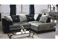 **7-DAY MONEY BACK GUARANTEE!!** Serene Luxury Velvet Corner Sofa or 3 and 2 SAME DAY DELIVERY!