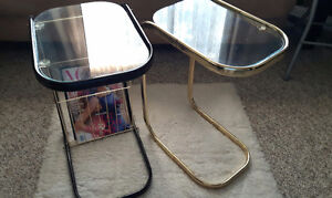 two stylish glass top tables