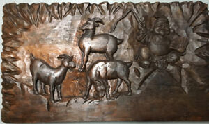 Large Solid Pine wall carving.