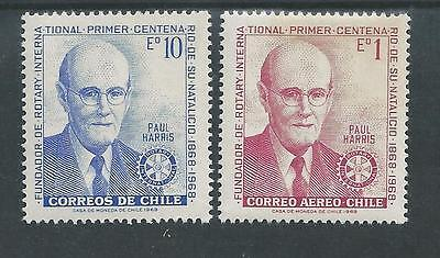 Chile - 1968 100th Anniv. of birth of Paul Harris - Rotary - Un-mounted Mint set