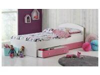 Malibu pink & white single bed