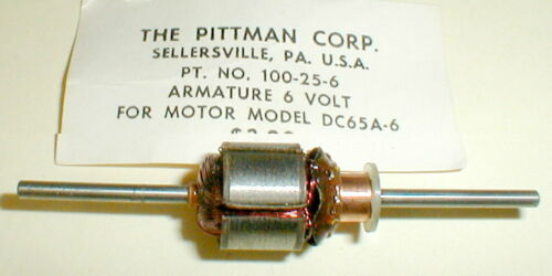 (1) Pittman DC65A Armature 6 Volt Epoxyed Original 1960s Slot Car NOS #100-25-6