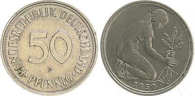 50Pf. 1950 D Fehlprägung auf stark magnetischer Ronde mit Riffelrand ss-vz
