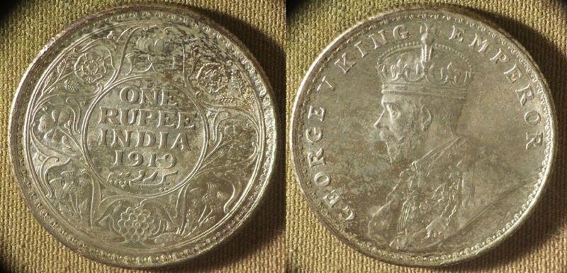 India British Rule : 1919(c) 1 Rupee  CH.UNC High Points Rubs  #524   IR8639