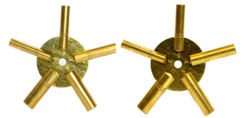 2 Pc Clock Winding Brass Key Set Even & Odd Numbers Universal Mantle NEW