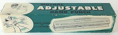 Vintage Mutual Adjustable Hand Punch 2 Or 3 Hole Punchings Model No 20