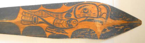 Rare Northwest Coast Painted Wood Paddle Totemic Whale Eagle Original Circa 1890
