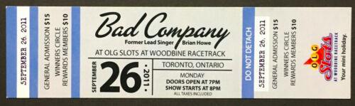 2011 Bad Company Unused Concert Ticket Toronto Woodbine Racetrack Brian Howe