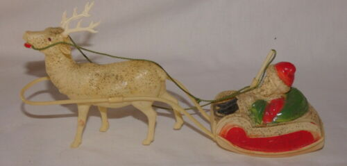 Vintage Christmas Celluloid Santa Claus Sleigh and Reindeer Made In the USA