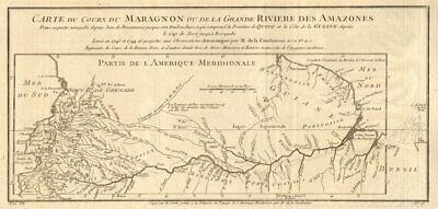 'Cours du Maragnon ou de la Grande Riviere des Amazones'. River. BELLIN 1756 map
