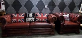 Awesome Dellbrook Chesterfield Low Back 3 Seater Sofa & Club Chair Oxblood Red Leather - Uk Delivery