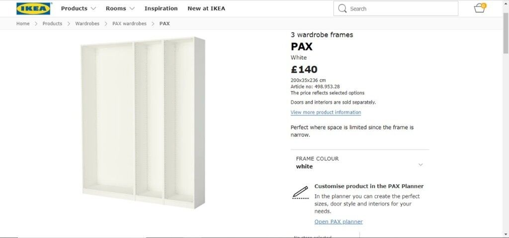Ikea Pax white double wardrobe with sliding doors | in Morpeth,  Northumberland | Gumtree