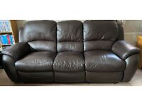 Brown Leather Recliner 3 seater Sofa and 2 seater Sofa