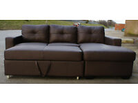 New Brown leather sofa bed. Free local delivery.