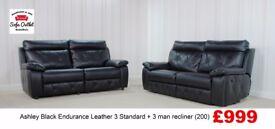 Designer Ashley Black Endurance leather 3str stand + 3str man rec (200) £999