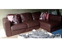 Can Deliver- Small Real Leather Corner Sofa