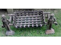 Old Cast Iron Lord Nelson Andirons/Fire dogs and Grate.