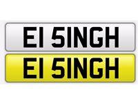 Personalised Number Plate ( EI51 NGH ) - SINGH