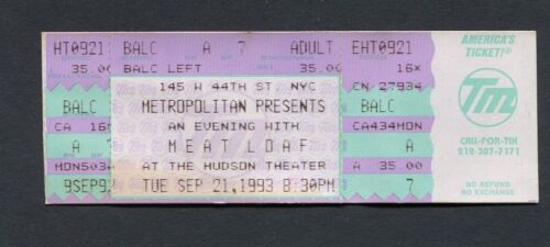1993 Meat Loaf unused full concert ticket Hudson Theatre New York NY Bat Out of