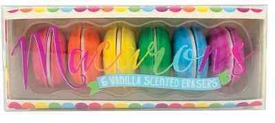 Macaron Erasers Set of 6 Macaroon Rubbers School Supplies Vanilla Scented - Scented Erasers