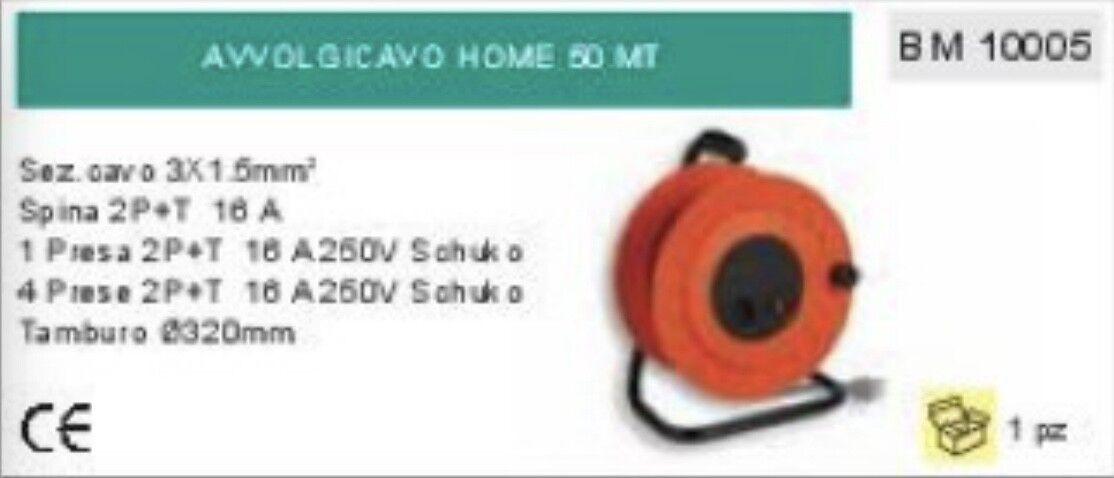 AVVOLGICAVO PROLUNGA 50m CAVO 3 x 1,5 mm 4 PRESE + 1 SCHULKO TEDESCA HOME