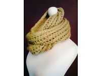 Ladies Chartreuse Green Long Knit Circle Infinity Winter Scarf.
