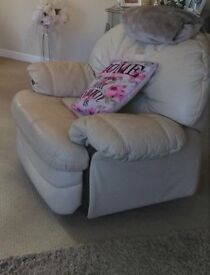 Cream leather swivel recliner