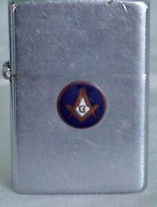 VINTAGE 1962 ZIPPO LIGHTER -  MASONS FRATERNAL EMBLEM