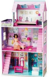 """NEW: Jupiter Traditional """"WOOD"""" Dollhouse With Furniture"""
