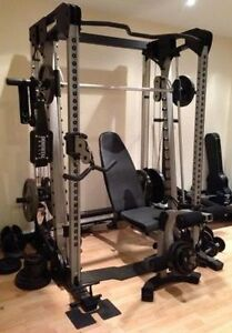 Nautilus Smith Machine, Cable Cross Over, Bench, Olympic Weights