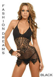 BLACK-CROCHET-KNIT-SHEER-COVER-UP-TUNIC-RESORT-BEACH-SEXY-MINI-DRESS-L-Large