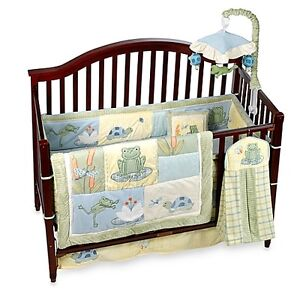 "Beautiful ""Ivy & Lambs"" Frog Crib Bedding Set!"