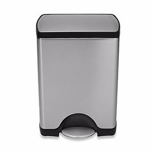 New, Simplehuman Deluxe Stainless Steel Fingerprint-Proof Rectangular 30-Liter (open box)