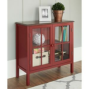 Chatham House Baldwin Double Door Glass Cabinet in Red-BRAND NEW