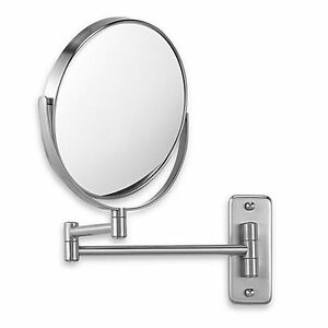 Jerdon Wall-Mount 8X1X Magnifying Swivel Mirror in Nickel/NEW