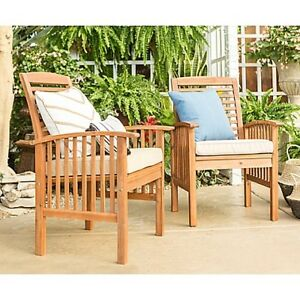Forest Gate Eagleton Pation Acacia Wood Patio Chairs w coffee ta