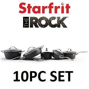 NEW 10PC STARFRIT NONSTICK COOKWARE THE ROCK COOKWARE SET 104173722