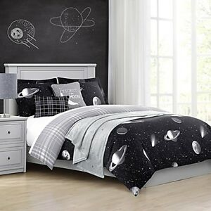 New Black Queen Size Moon, Planets, Stars Print Comforter