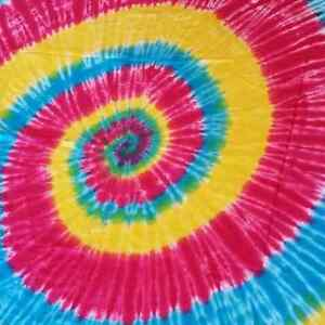 Hot Pink, Yellow and Blue Tiedye Tapestry/Throw/Table Runner